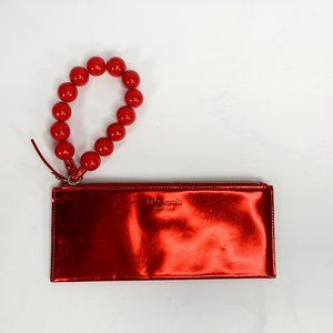 KATE SPADE Red Patent Zipper Wallet Large Beads